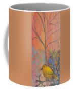 Yellow Peace Bird On Orange Coffee Mug