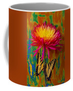 Yellow Red Mum With Yellow Black Butterfly Coffee Mug
