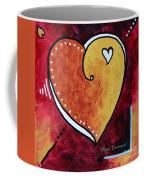 Yellow Red Orange Heart Love Painting Pop Art Love By Megan Duncanson Coffee Mug by Megan Duncanson