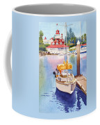 Yellow Sailboat And Coronado Boathouse Coffee Mug by Mary Helmreich