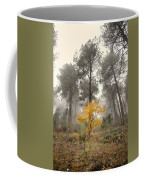 Yellow Tree In The Foggy Forest Coffee Mug