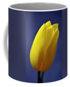 Yellow Tulip On Blue Background Coffee Mug