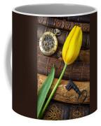 Yellow Tulip On Old Books Coffee Mug