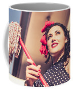 Young 50s Brunette Housewife Holding Red Mop Coffee Mug