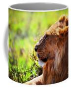 Young Adult Male Lion On Savanna. Safari In Serengeti Coffee Mug
