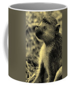 Young Baboon In Black And White Coffee Mug