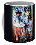 Young Ballerinas - Palette Knife Oil Painting On Canvas By Leonid Afremov Coffee Mug