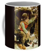 Young Boy With Birds In The Snow Coffee Mug