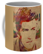 Young Clint Eastwood Actor Watercolor Portrait On Worn Parchment Coffee Mug