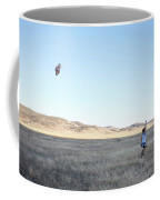 Young Lady Flies A Kite In An Open Coffee Mug