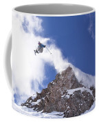 Young Man  Catches Huge Air While Coffee Mug