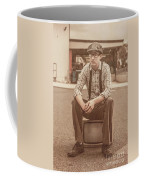 Young Vintage Man Seated On Old Tv Coffee Mug