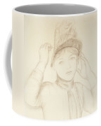 Young Woman Arranging Her Hat Coffee Mug