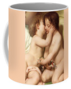 Young Woman Contemplating Two Embracing Children Detail II Coffee Mug by William Bouguereau