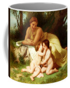 Young Woman Contemplating Two Embracing Children Coffee Mug