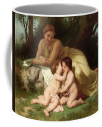 Young Woman Contemplating Two Embracing Children Coffee Mug by William Bouguereau