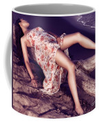 Young Woman In Dress Lying On Driftwood On A Shore Coffee Mug