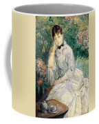 Young Woman Seated On A Sofa Coffee Mug by Berthe Morisot