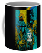 3 Caged Birds Grunge Coffee Mug
