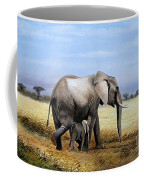 Elephant And Her Child Coffee Mug