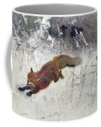 Fox Being Chased Through The Snow  Coffee Mug by Bruno Andreas Liljefors