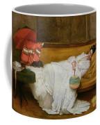 Girl In A White Dress Resting On A Sofa Coffee Mug by Alfred Emile Stevens