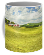 Hay Harvesting In Field Outside Red Barn Maine Coffee Mug