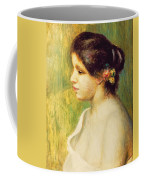 Young Woman With Flowers At Her Ear Coffee Mug