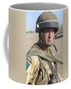 A British Army Soldier Provides Coffee Mug