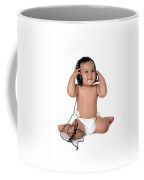 A Chubby Little Girl Listen To Music With Headphones  Coffee Mug