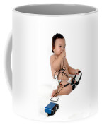 A Chubby Little Girl Sit With A Vintage Camera Coffee Mug
