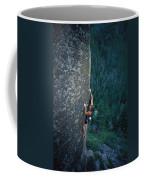A Rock Climber In Montanas Hyalite Coffee Mug