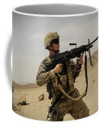 A Soldier Firing His Mk-48 Machine Gun Coffee Mug