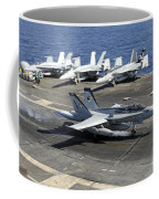 An Fa-18e Super Hornet Lands Aboard Coffee Mug