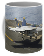 An Fa-18e Super Hornet Trap Landing Coffee Mug