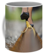 Banana Peel On The Railroad Tracks Coffee Mug