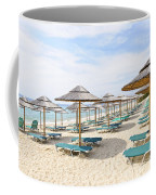 Beach Umbrellas On Sandy Seashore Coffee Mug