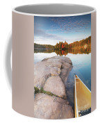 Canoe At A Rocky Shore Autumn Nature Scenery Coffee Mug