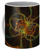 Computer Generated Yellow Vortex Abstract Fractal Flame Art Coffee Mug