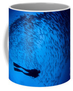 Diver And A Large School Of Bigeye Coffee Mug