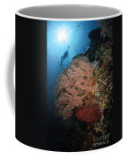 Diver Over Soft Coral Seascape Coffee Mug