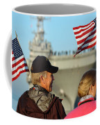 Family Members Wave Flags To Show Coffee Mug
