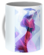 Fashion Photo Of A Woman In Shining Blue Settings Wearing A Red  Coffee Mug