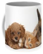 Ginger Kitten With Cavapoo Pup Coffee Mug