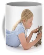 Girl Grooming Kitten Coffee Mug