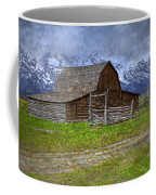 Grand Teton Iconic Mormon Barn Fence Spring Storm Clouds Coffee Mug