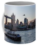 Helicopter At Tower Bridge Coffee Mug