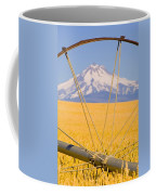Irrigation Pipe In Wheat Field With Coffee Mug