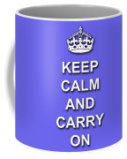 Keep Calm And Carry On Poster Print Blue Background Coffee Mug