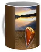 Lake Sunset With Canoe On Beach Coffee Mug